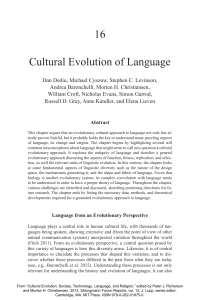 Cultural evolution of language