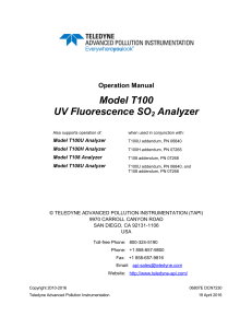 Model T100 UV Fluorescence SO2 Analyzer