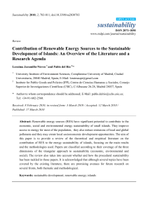 Contribution of Renewable Energy Sources to the Sustainable