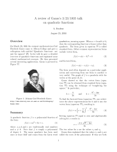 A review of Gauss`s 3/23/1835 talk on quadratic functions
