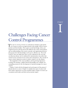 Challenges Facing Cancer Control Programmes