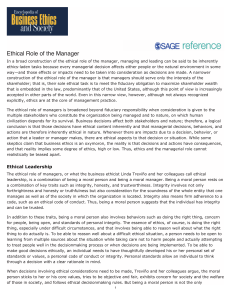 Ethical Role of the Manager
