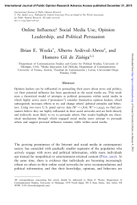 Social Media Use, Opinion Leadership, and Political Persuasion