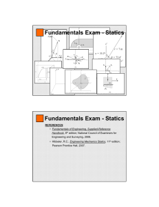 Fundamentals Exam - Statics Fundamentals Exam
