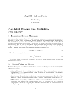 Non-Ideal Chains: Size, Statistics, Free
