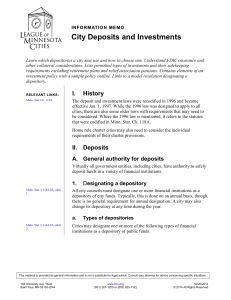 City Deposits and Investments