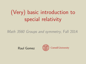 (Very) basic introduction to special relativity