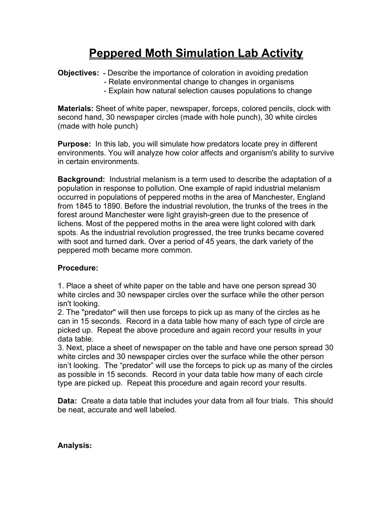 Peppered Moth Paper Lab – Peppered Moth Worksheet