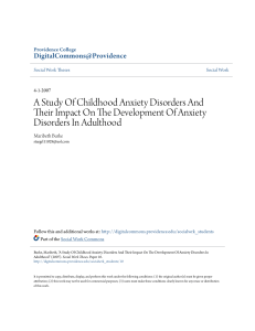 A Study Of Childhood Anxiety Disorders And Their Impact On The