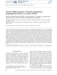Genetic differentiation of island populations: geographical barrier or