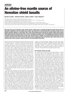 An olivine-free mantle source of Hawaiian shield basalts