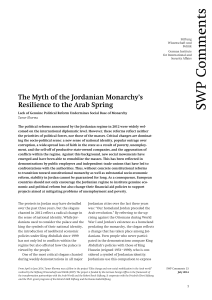 The Myth of the Jordanian Monarchy`s Resilience to the Arab Spring