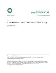 Kantianism and Emile Durkheim`s Ethical Theory