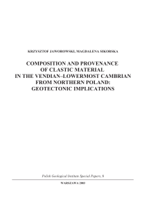 composition and provenance of clastic material in the vendian