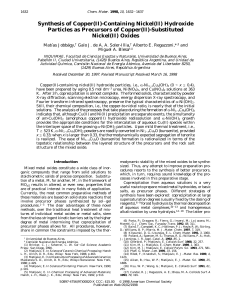 Synthesis of Copper (II)-Containing Nickel (II) Hydroxide Particles as