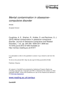 Mental contamination in obsessive– compulsive disorder