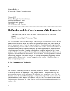 Reification and the Consciousness of the Proletariat