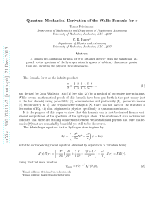 Quantum Mechanical Derivation of the Wallis Formula for $\ pi$