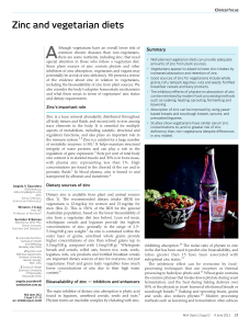 Zinc and vegetarian diets - Medical Journal of Australia