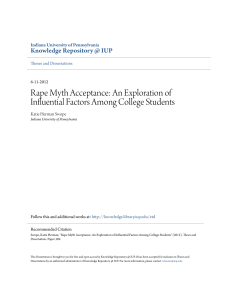 Rape Myth Acceptance: An Exploration of Influential Factors Among