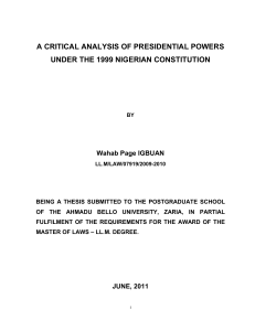 a critical analysis of presidential powers under the 1999