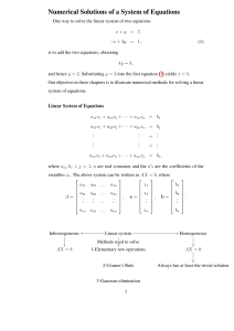 Numerical Solutions of a System of Equations