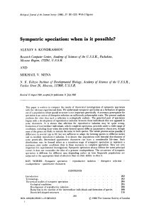 Sympatric speciation: when is it possible