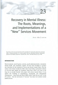 Recovery In Mental Illness: The Roots, Meanings, And