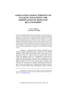 Associated Characteristics of Stalking Following Termination of a