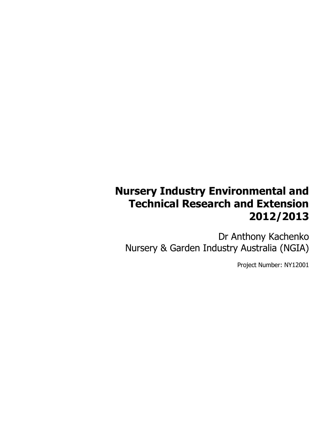 nursery industry environmental and technical research and