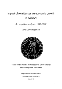 Impact of remittances on economic growth in ASEAN - DUO