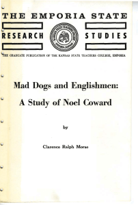 Mad Dogs and Englishmen: A Study of Noel Coward