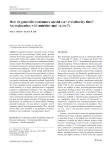 How do generalist consumers coexist over evolutionary time? An