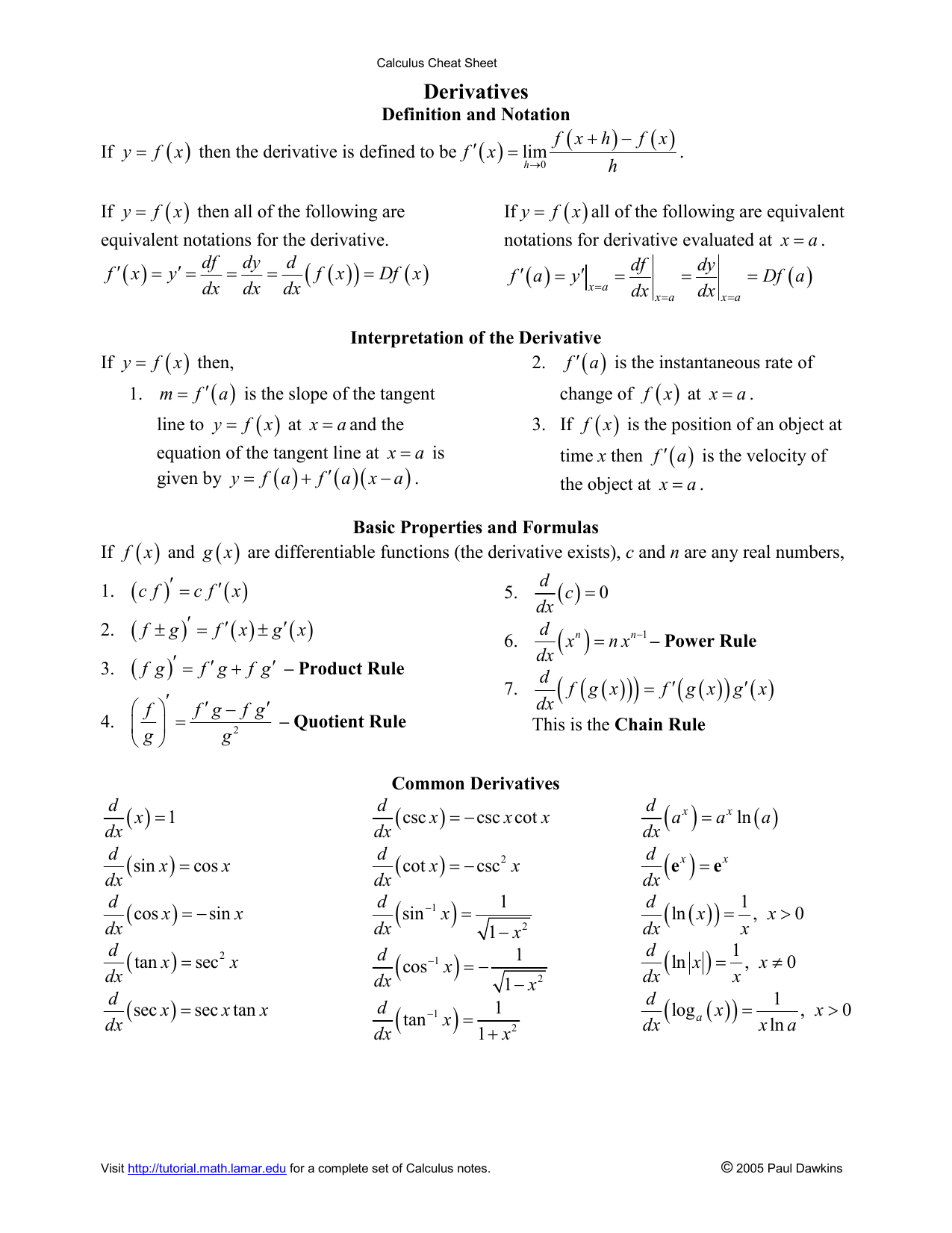Derivatives Pauls Online Math Notes The little mark ' means derivative of, and f and g are functions. studyres com