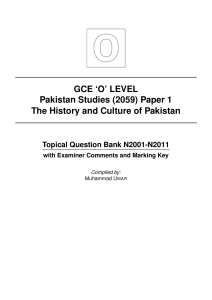 GCE `O` LEVEL Pakistan Studies (2059) Paper 1 The History and