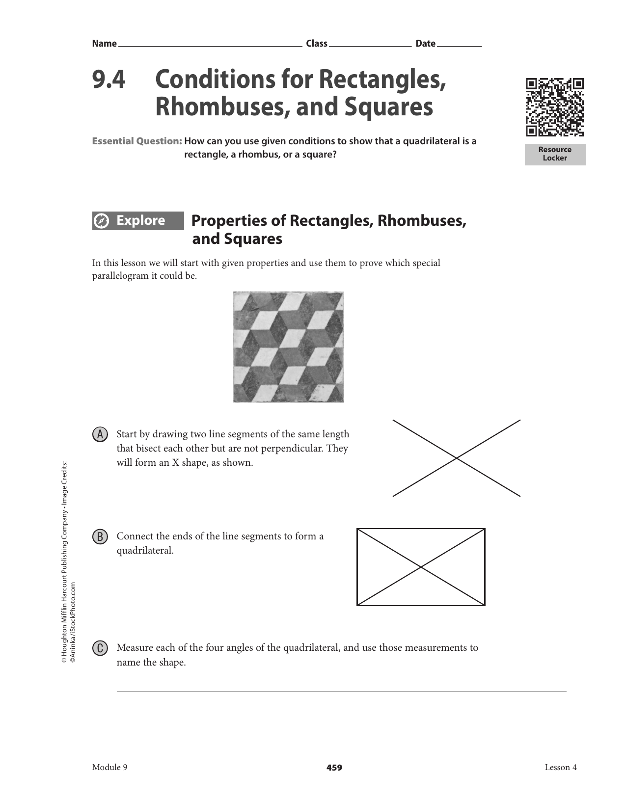 9 . 4 Conditions for Rectangles, Rhombuses, and Squares