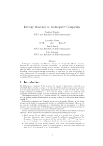 Entropy Measures vs. Kolmogorov Complexity