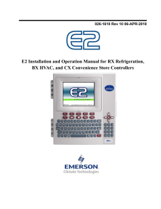 E2 User Manual - Emerson Climate Technologies