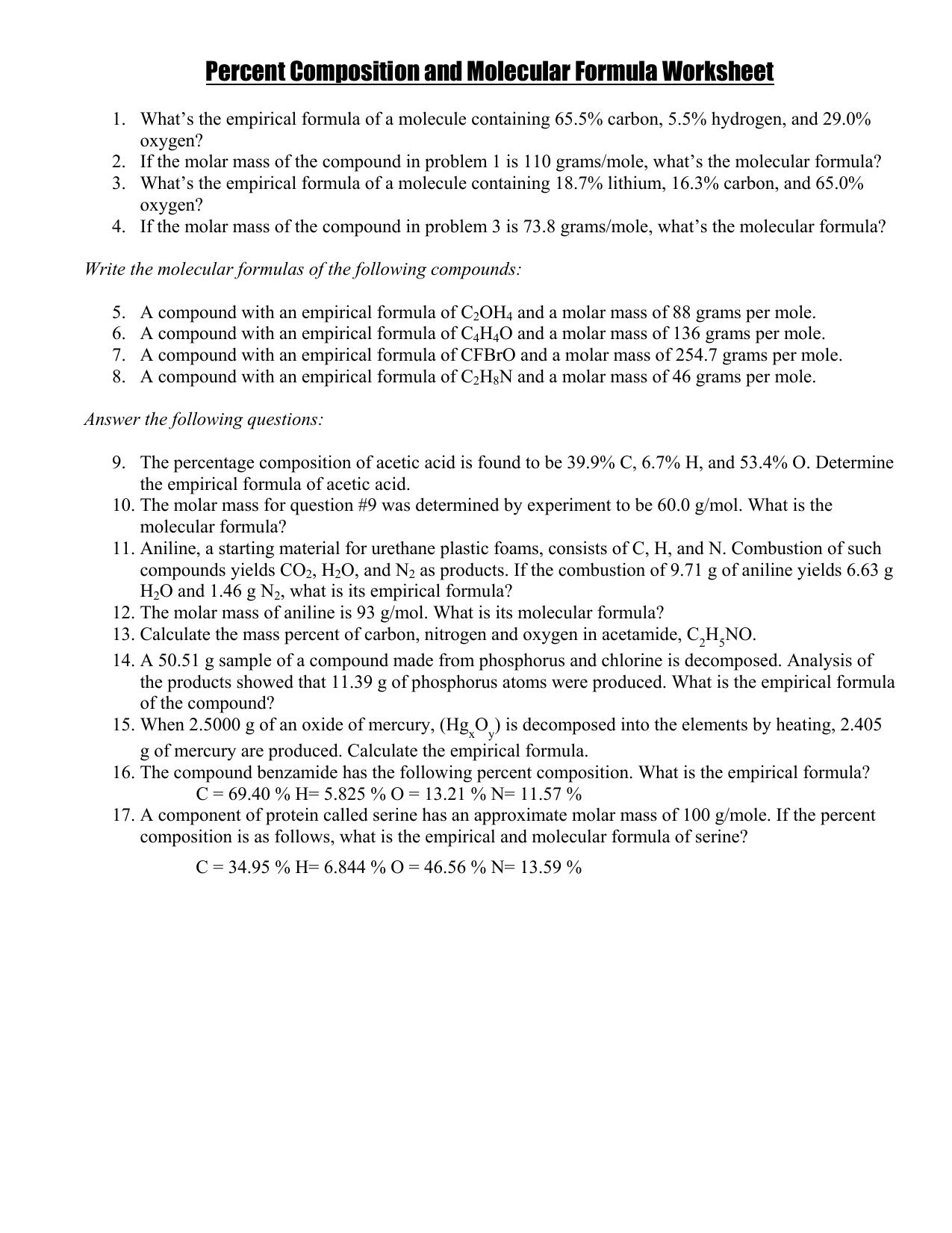 Worksheets Empirical Formulas Worksheet empirical formula worksheet with solutions best photos about percent position and molecular worksheet