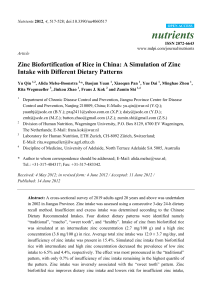 Zinc Biofortification of Rice in China: A Simulation of Zinc Intake with