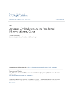 American Civil Religion and the Presidential Rhetoric of Jimmy Carter.