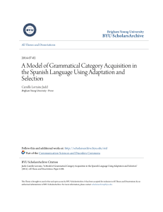 A Model of Grammatical Category Acquisition in the Spanish