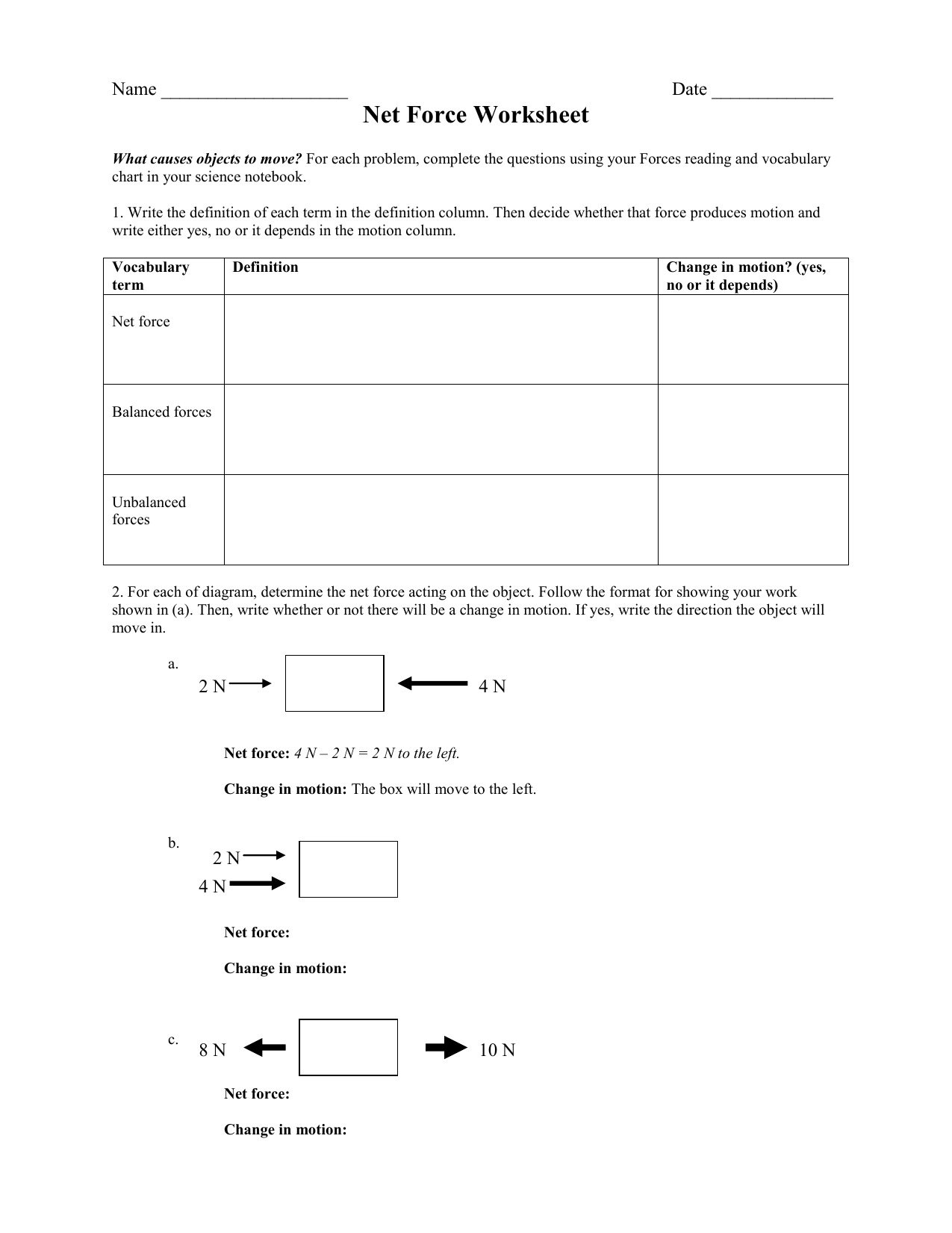 Net Force Worksheet - CRJH 8th Grade Science