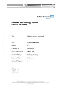 Pathology handbook - Portsmouth Hospitals NHS Trust