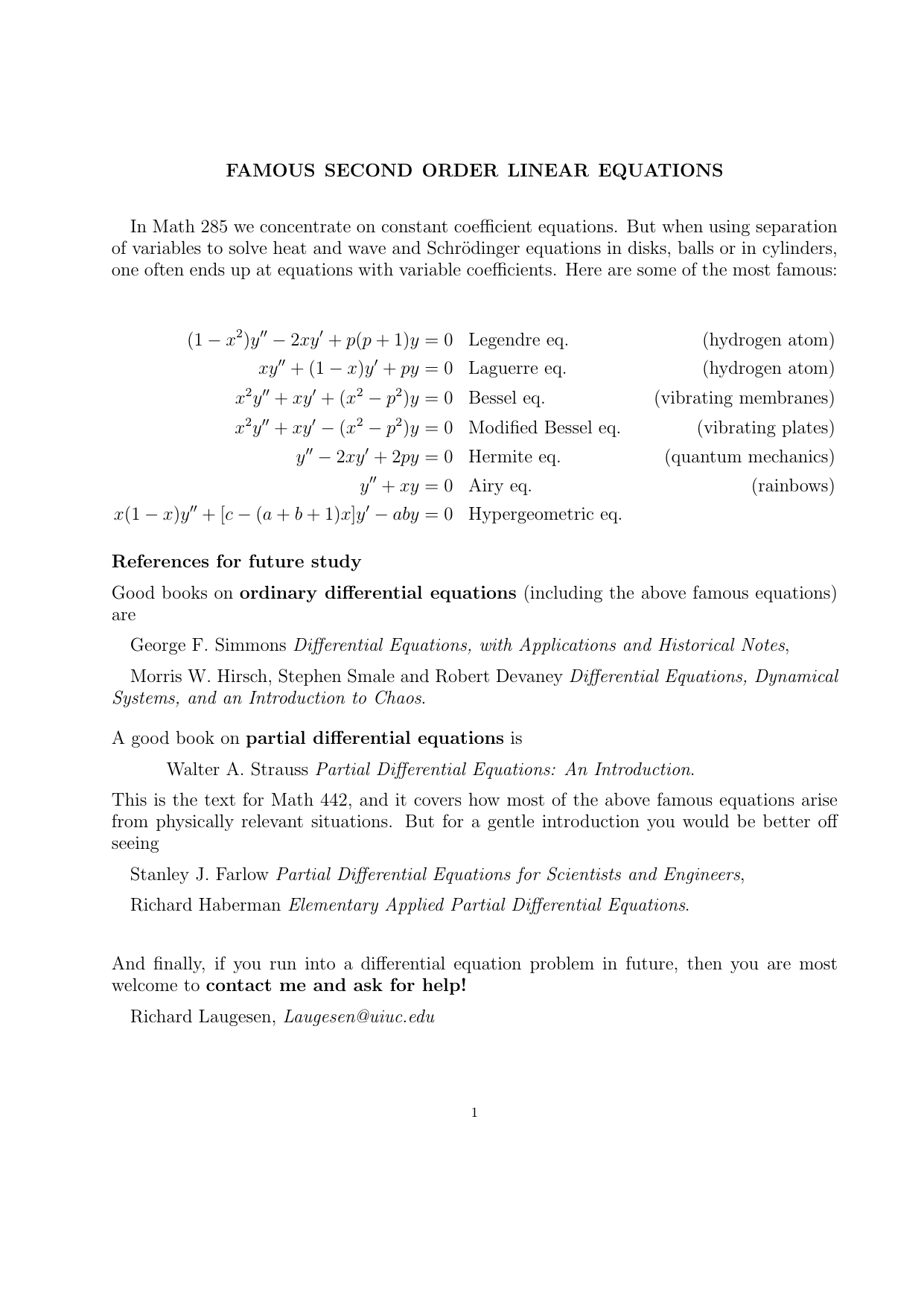 Famous differential equations, and references