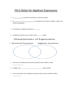 Fill in Notes for Algebraic Expressions