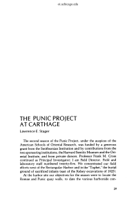 the punic project at carthage - The Oriental Institute of the University