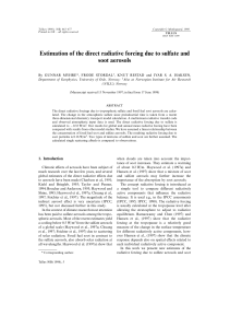 Estimation of the direct radiative forcing due to sulfate and soot