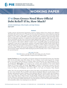 Working Paper 17-6: Does Greece Need More Official Debt Relief? If