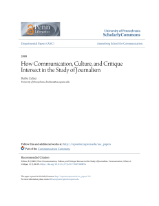 How Communication, Culture, and Critique Intersect in the Study of
